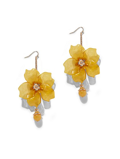 Yellow Floral Drop Earring - New York & Company