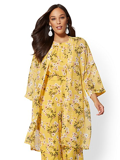 Yellow Floral Kimono Jacket - New York & Company