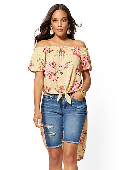 Yellow Floral Off-The-Shoulder Hi-Lo Blouse - New York & Company