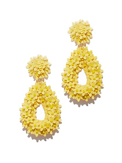 Yellow Floral Open-Oval Drop Earring - New York & Company