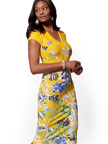 Yellow Floral V-Neck Sheath Dress - Magic Crepe - New York & Company