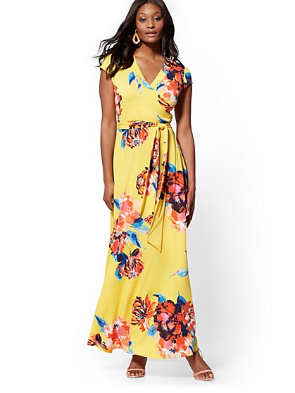 Yellow Floral Wrap Maxi Dress - New York & Company