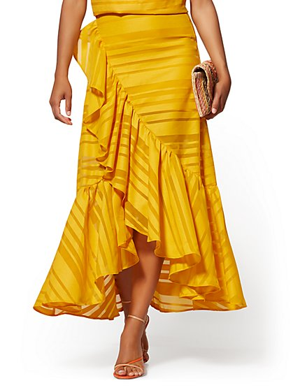 Yellow Flounce Maxi Skirt - New York & Company