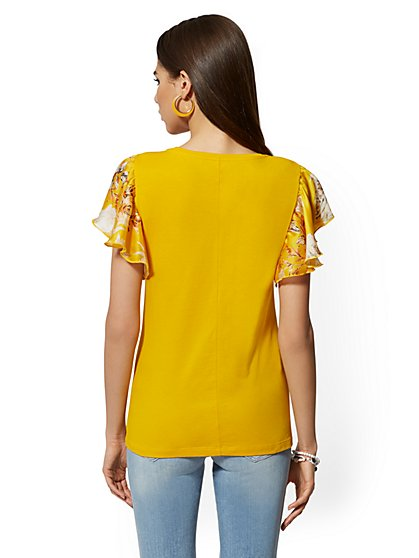 a51c70590db9 ... Yellow Flutter-Sleeve Tee - New York & Company ...