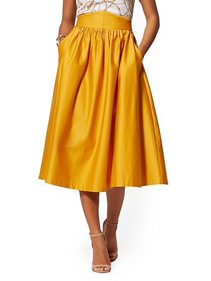 Yellow High-Waist Full Skirt - All-Season Stretch - New York & Company