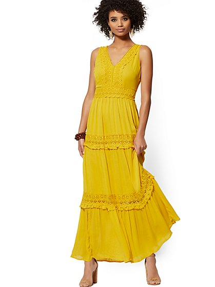 Yellow Lace-Accent Tiered Maxi Dress - New York & Company