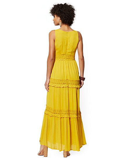 76a7bcc5266a ... Yellow Lace-Accent Tiered Maxi Dress - New York   Company
