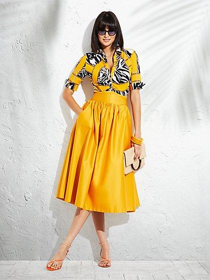3ab3ccfd Yellow Mixed-Print Madison Stretch Shirt - New York & Company ...