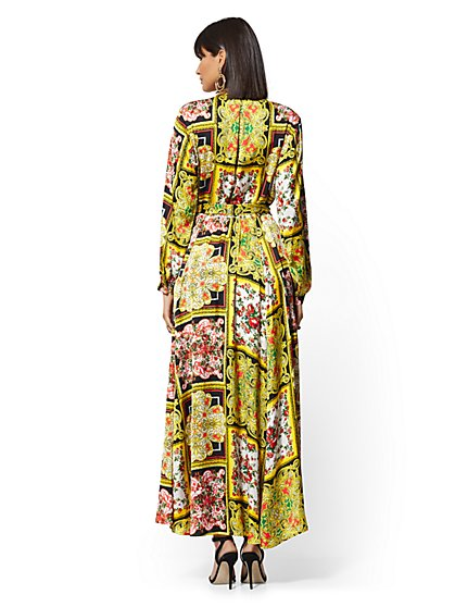 8229bb842d3a5 ... Yellow Mixed-Print Wrap Maxi Dress - New York   Company ...