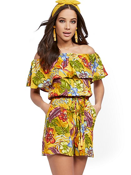 Yellow Off-The-Shoulder Romper - New York & Company