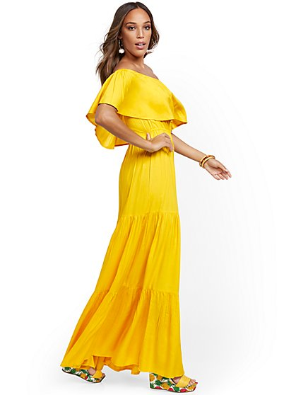 Yellow Off-The-Shoulder Ruffled Maxi Dress - New York & Company