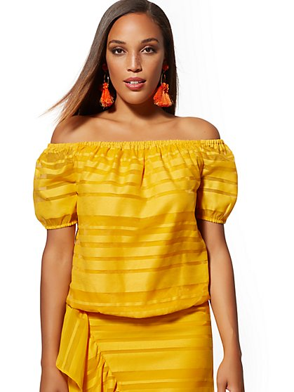 Yellow Off-The-Shoulder Top - New York & Company