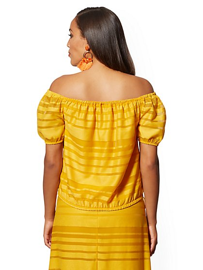 462389c400e ... Yellow Off-The-Shoulder Top - New York & Company ...