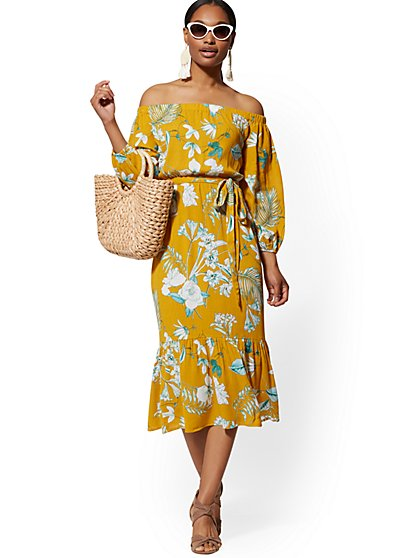 a606b401 Yellow Palm-Print Off-The-Shoulder Midi Dress - New York & Company ...