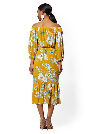 3f60017a87 ... Yellow Palm-Print Off-The-Shoulder Midi Dress - New York   Company