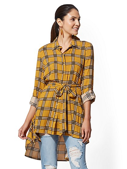 Yellow Plaid Hi-Lo Tunic Shirt - New York & Company