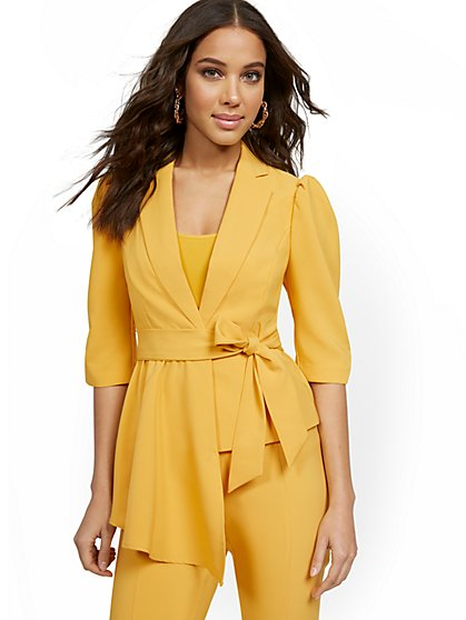 Yellow Puff-Sleeve Jacket - 7th Avenue - New York & Company