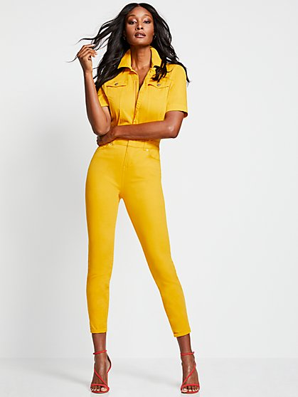 Yellow Short-Sleeve Jumpsuit - New York & Company
