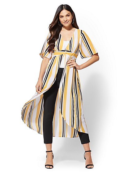 Yellow Stripe Kimono Blouse - New York & Company