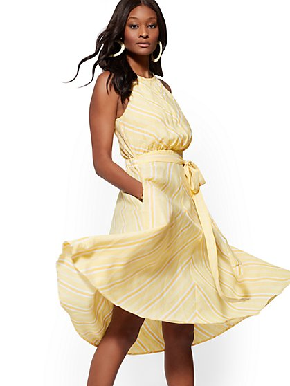 Yellow Stripe Linen Halter Dress - New York & Company