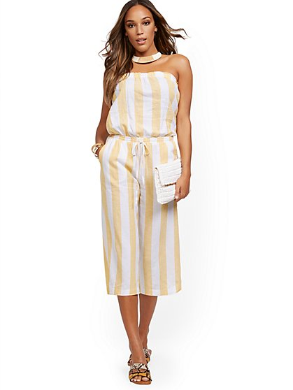 Yellow Stripe Linen Jumpsuit - New York & Company