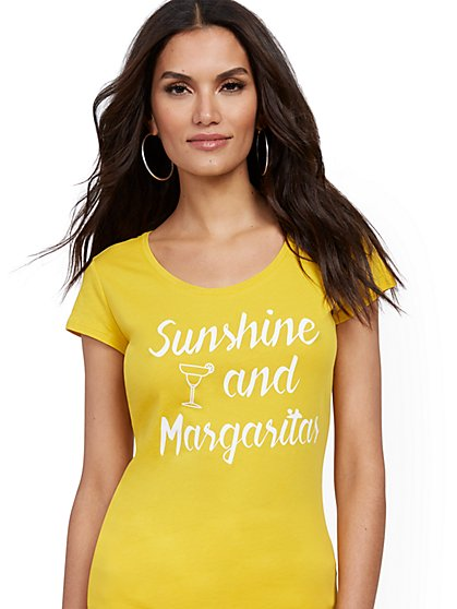 "Yellow ""Sunshine & Margaritas"" Tee - New York & Company"