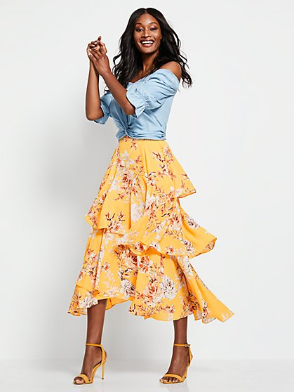 Yellow Tiered Maxi Skirt - New York & Company