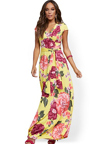 Yellow Wrap Maxi Dress - New York & Company