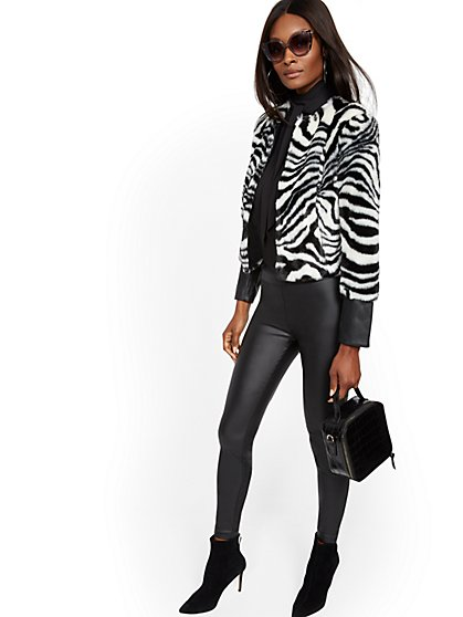 Zebra Faux-Fur & Faux-Leather Jacket - New York & Company