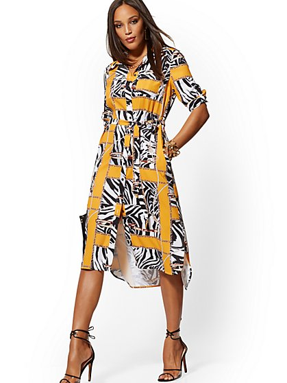 b6e666508af8 Zebra & Link Print Midi Shirtdress - New York & Company ...