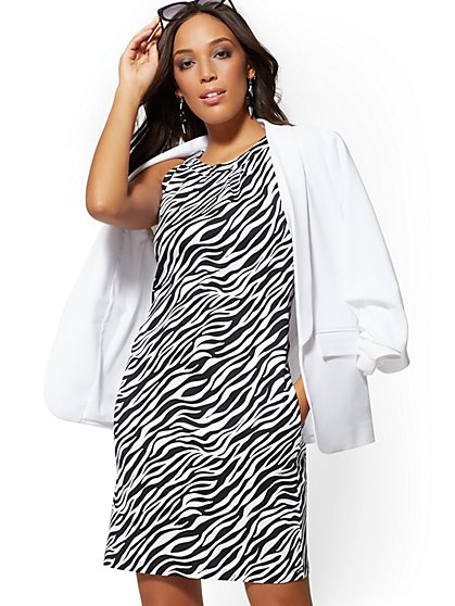 Zebra-Print Cotton Halter Shift Dress - New York & Company