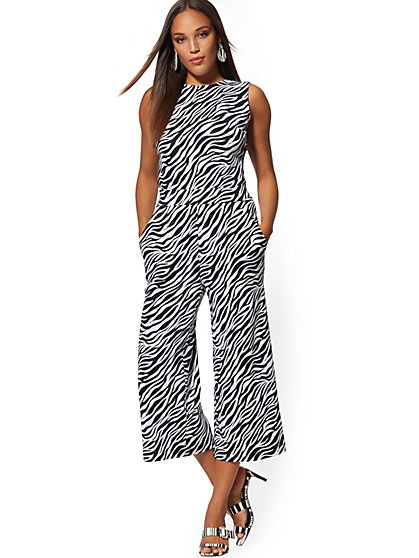 Zebra-Print Cotton Tie-Back Culotte Jumpsuit - New York & Company