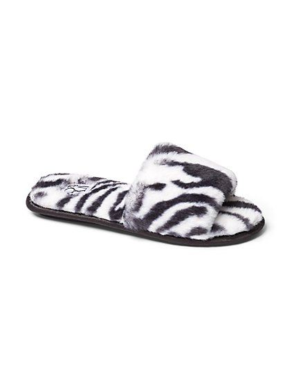 Zebra-Print Faux-Fur Slide Slipper - New York & Company