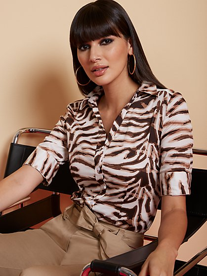 Zebra-Print Madison Stretch Shirt - Secret Snap - 7th Avenue - New York & Company