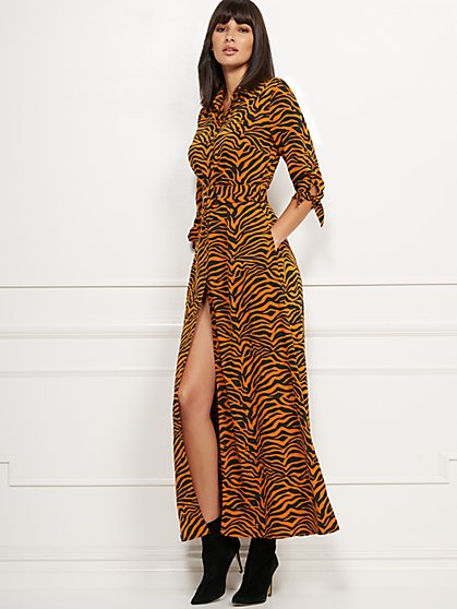 Zebra-Print Maxi Shirtdress - New York & Company
