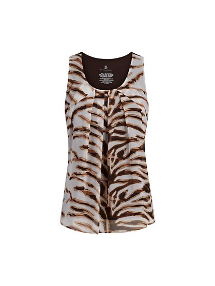Zebra-Print Sleeveless Top - New York & Company