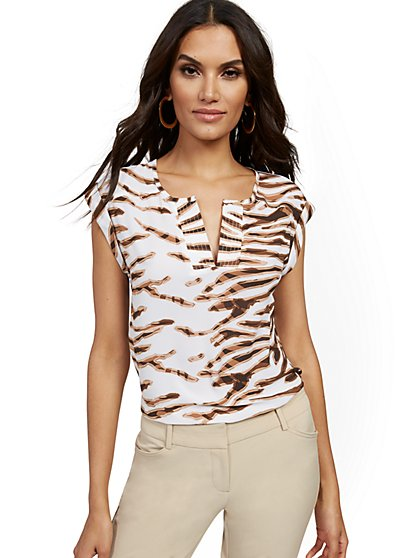 Zebra-Print Split-Neck Blouse - 7th Avenue - New York & Company