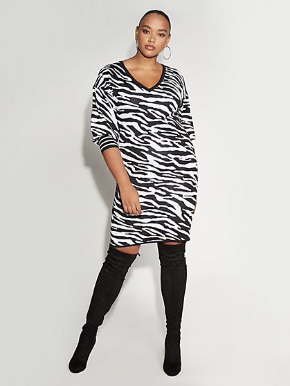 Zebra-Print Sweater Sheath Dress - Gabrielle Union Collection - New York & Company