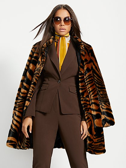 Zebra-Stripe Faux-Fur Coat - New York & Company