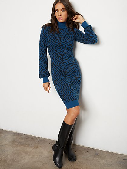 Zebra Sweater Sheath Dress - 7th Avenue - New York & Company
