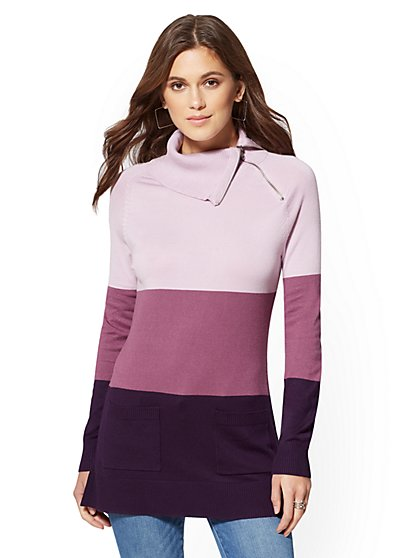 Zip-Accent Colorblock Tunic Sweater - New York & Company