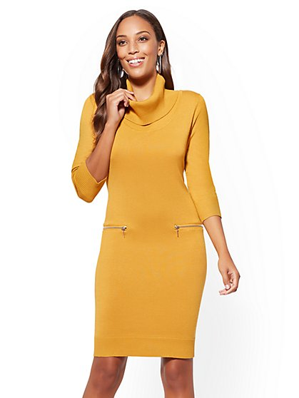 Zip-Accent Cowl-Neck Sweater Dress - New York & Company