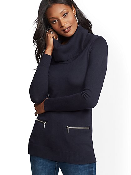 Zip-Accent Cowl-Neck Sweater - New York & Company
