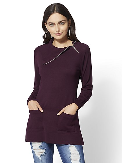 Zip-Accent Cowl-Neck Tunic Sweater - New York & Company
