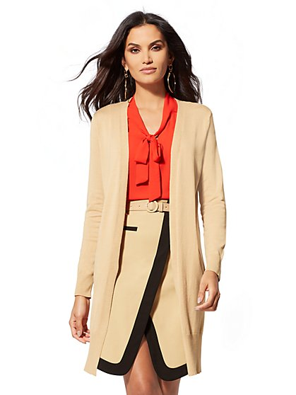 Zip-Accent Duster Cardigan - New York & Company