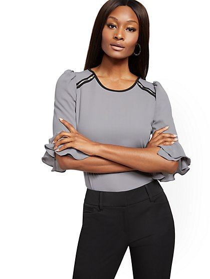 Zip-Accent & Flounced-Cuff Top - 7th Avenue - New York & Company