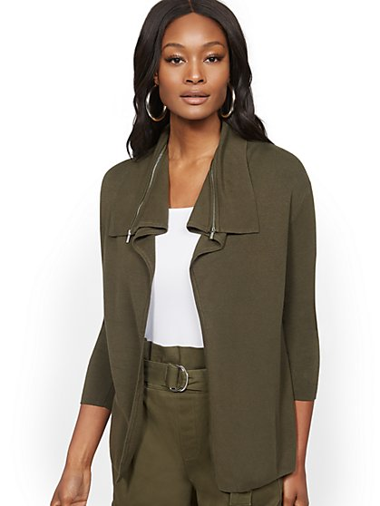 Zip-Accent Flyaway Cardigan - 7th Avenue - New York & Company