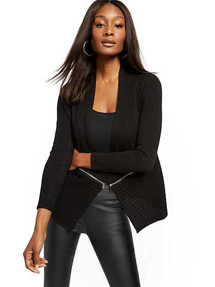 Zip-Accent Flyaway Cardigan - New York & Company