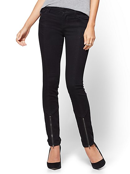 Zip-Accent Legging - Black - Soho Jeans - New York & Company