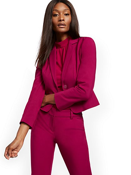 Zip-Accent One-Button Jacket - All-Season Stretch - 7th Avenue - New York & Company